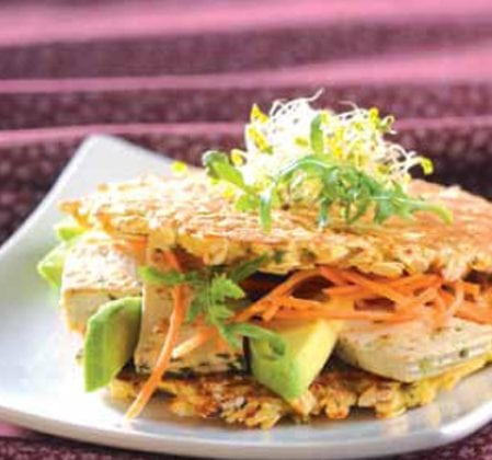 Galettes végétales en sandwich