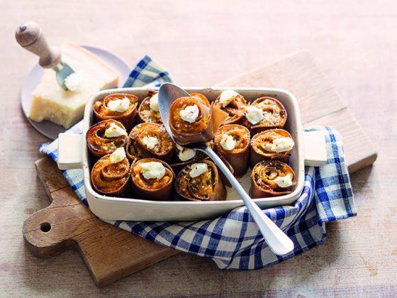 Lasagnes d'épeautre roulées au potimarron et aux champignons frais