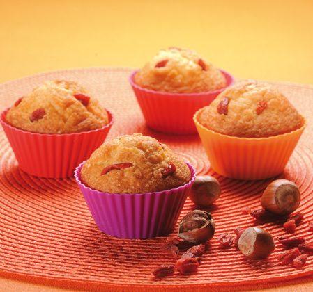 Muffins noisettes et baies de goji