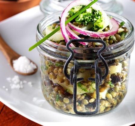Salade de lentilles et pommes de terre bio