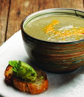 Soupe d'hiver aux lentilles vertes, aïoli au persil
