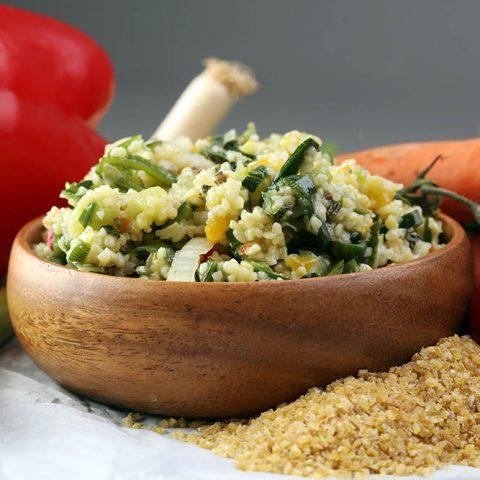 Boulgour auxpoireaux et tofu