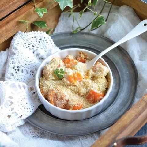 Gratin de chou-fleur et patate douce à la béchamel végétale