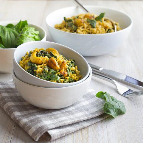 Salade de riz aux épinards sautés