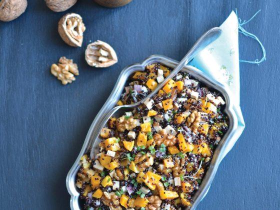 Salade tiède de courge butternut, tofu fumé, noix et citron