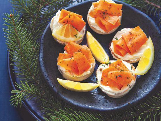 Blinis et gravlax de carotte