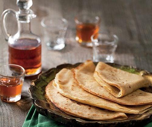 Crêpes au sirop d'érable et à l'huile essentielle de mandarine bio