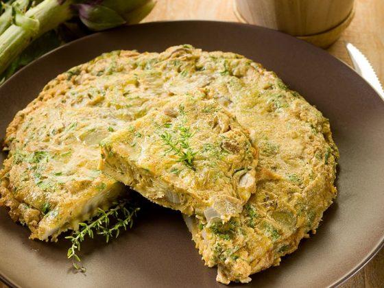 Omelette aux artichauts et au parmesan