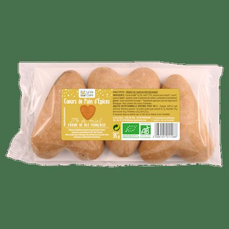 Cœurs en pain d'épices bio x3