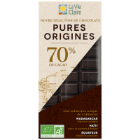 Coffret 3 tablettes de chocolat noir bio Pures Origines : Haïti, Madagascar, Equateur