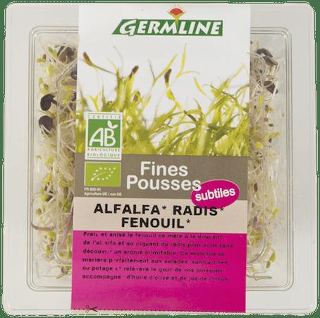 Graines germées d'Alfalfa, radis et fenouil bio