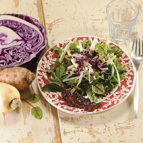 Salade de légumes oubliés et crème de pruneaux