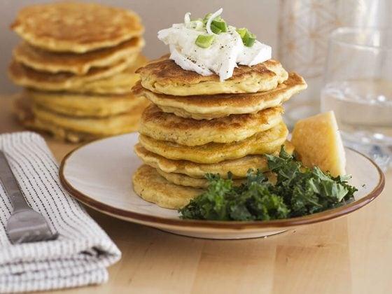 Pancakes salés au parmesan et aux deux farines
