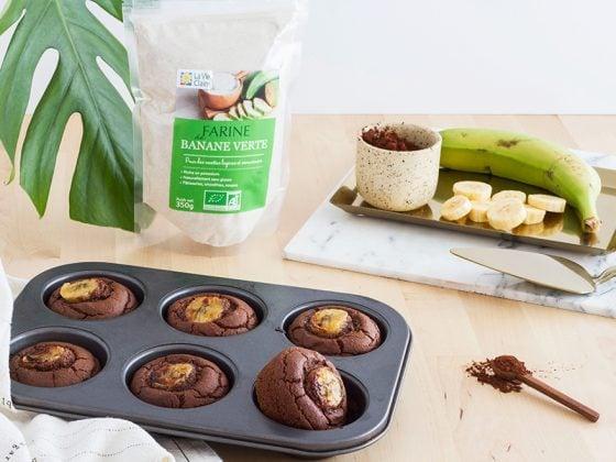 Muffins banane/chocolat à la farine de banane verte