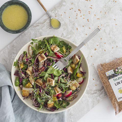 Salade hivernale au tofu, à l'orange et aux graines de lin doré