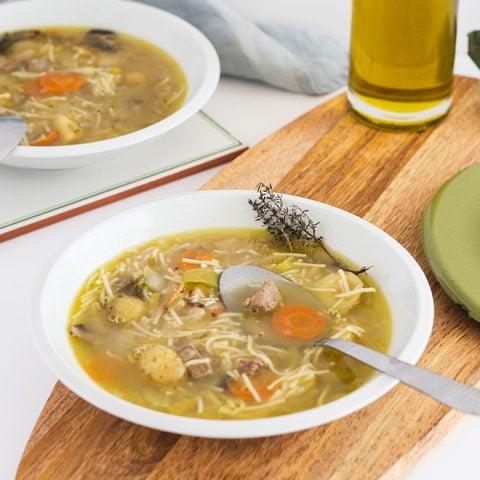 Soupe montagnarde au bœuf, vermicelles et légumes d'hiver 1