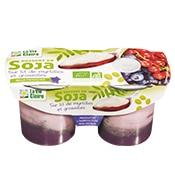 Dessert de soja sur lit de myrtilles et groseilles bio