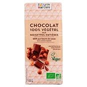 Tablette de chocolat aux noisettes entières bio