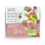 Pastilles de fruits à la pomme, fraise et framboise bio
