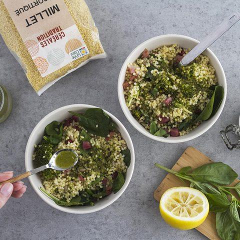 Millet et lardons en salade parfumés au citron et basilic