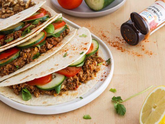 Tacos au bœuf, chou-fleur et noix