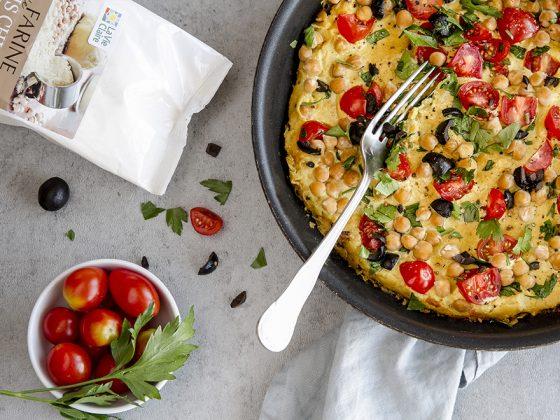 Omelette vegan à la farine de pois chiche et tofu soyeux