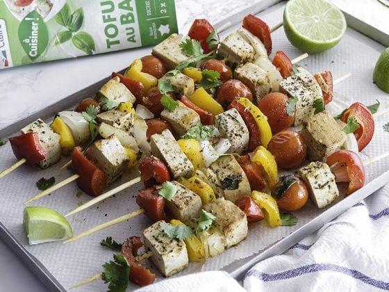 Brochettes de légumes du soleil et tofu au basilic 2