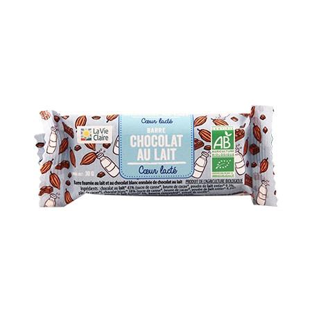 Barre fourrée au coeur lacté enrobée de chocolat au lait bio