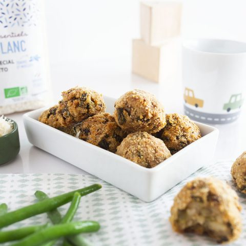 Risotto balls aux haricots verts