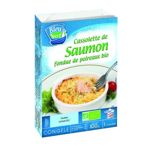 Cassolette de saumon et poireaux bio