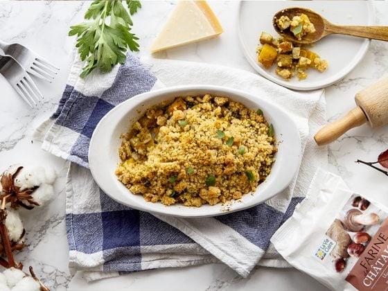 Crumble de potimarron au parmesan et à la farine de noix