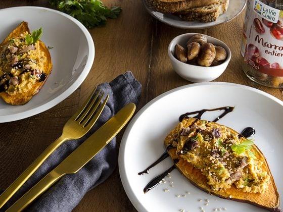 Toasts de patate douce et son houmous aux brisures de marrons