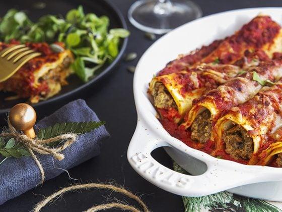 Cannellonis de potiron aux légumes rôtis