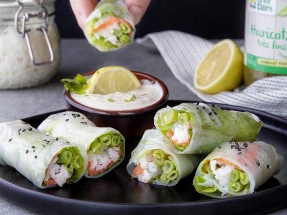 Rouleaux au saumon et haricots verts