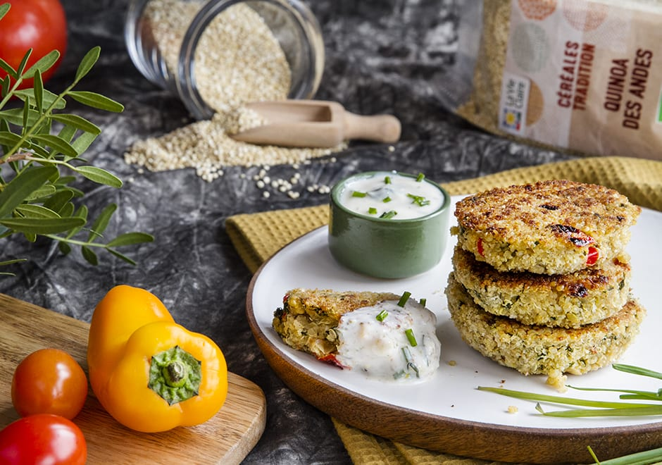 Galettes végétariennes de quinoa, épinards et feta