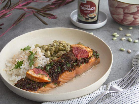 Saumon pamplemousse, fèves d'edamames et riz