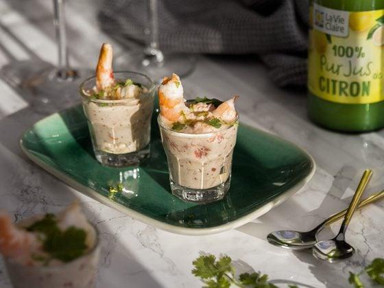 Verrines crevettes, pamplemousse et coriandre