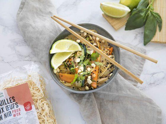 wok nouilles crevettes lait de coco
