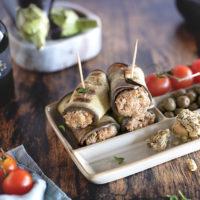 Roulés végétariens d'aubergines farcies