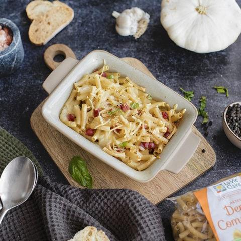 Gratin de macaronis à la mozzarella et au chorizo