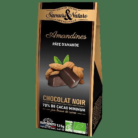 Ballotin de bouchées de pâtes d'amande au chocolat noir bio