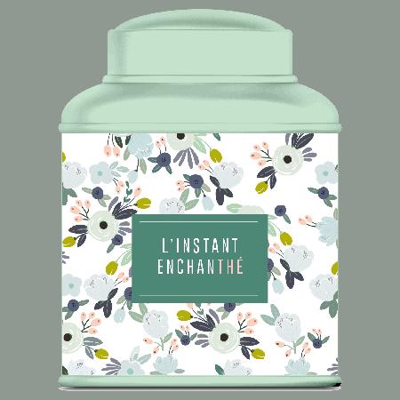 Boite vide en métal verte hermétique pour le thé