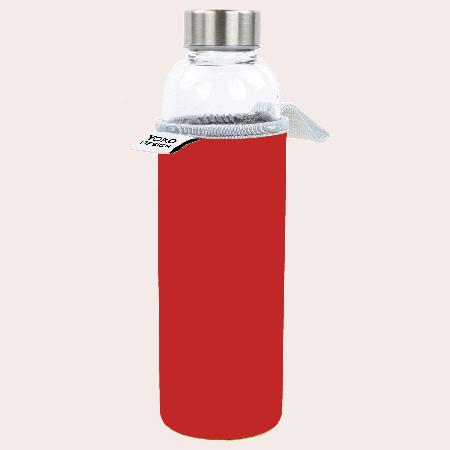 Bouteille en verre avec pochette néoprène rouge