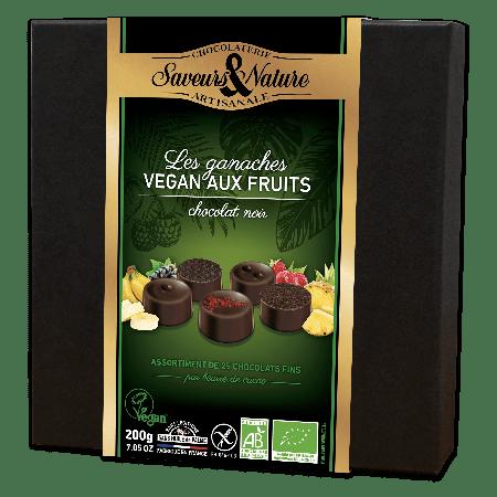 Coffret de ganaches au chocolat noir et aux fruits bio