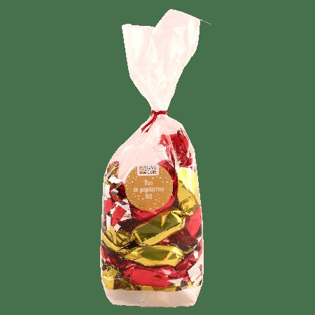 Duo de papillottes bio : pâte de fruits (poire / framboise) enrobées de chocolat noir