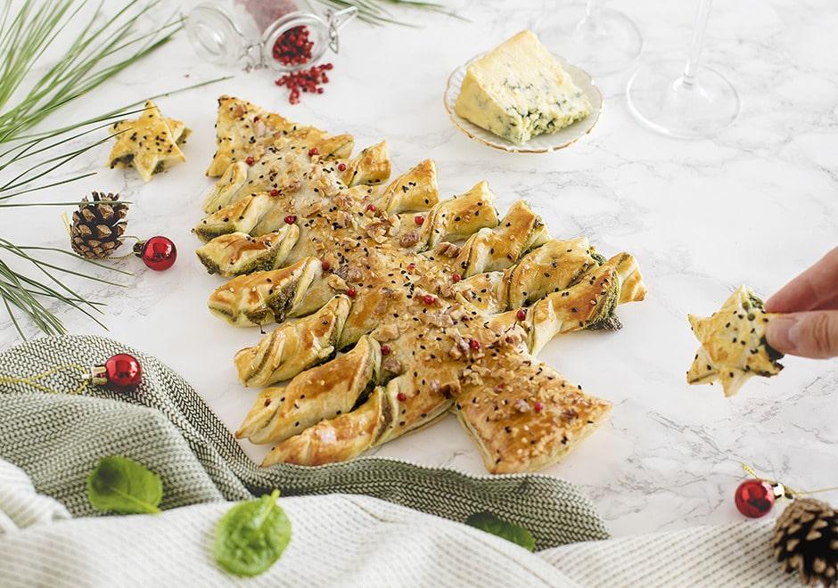 Arbre de Noël aux épinards, et à la Fourme d'Ambert