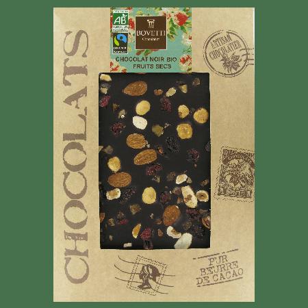 Tablette de chocolat noir aux fruits secs bio