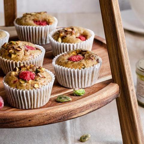Muffins framboises et pistaches
