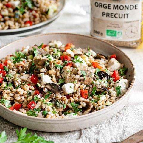 Salade d'orge poulet et champignons 1