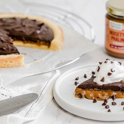 Tarte chocolat noisettes praliné